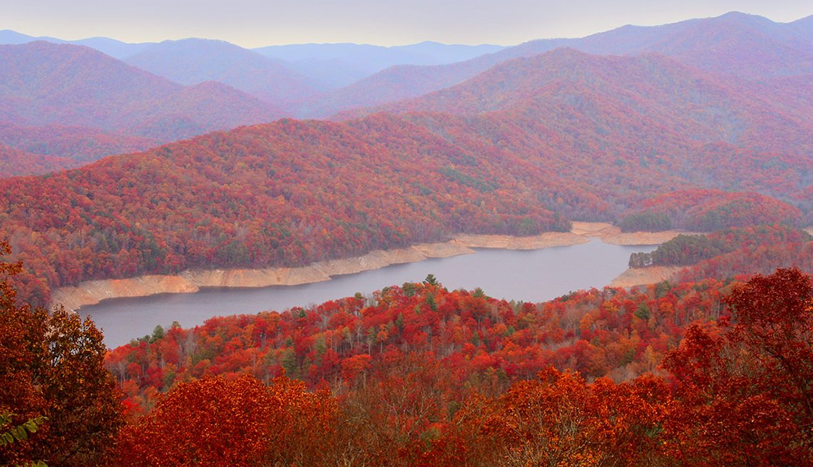 The Great Smoky Mountains In Tennessee During Fall, Best Fall Foliage Spots In America
