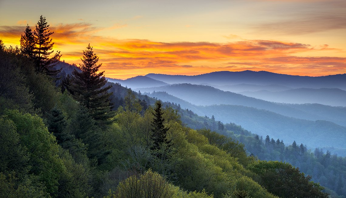 Sunset At The Great Smoky Mountains In Tennessee, Best National Parks