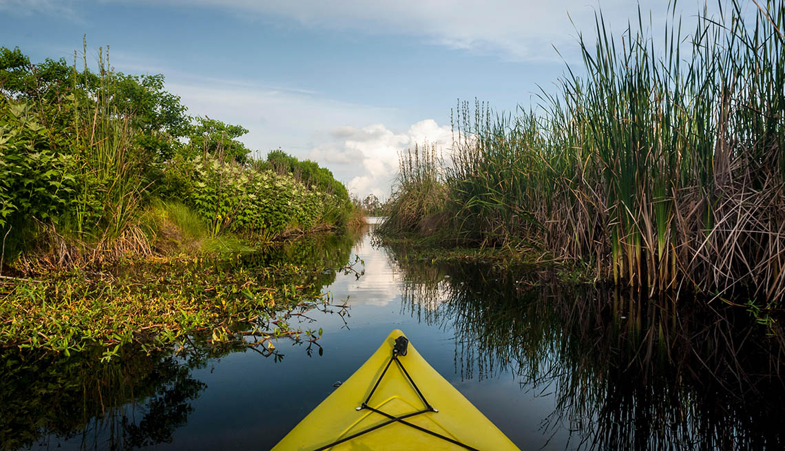 Tip Of Kayak In The Gulf State Park In Alabama, Wellness Vacation