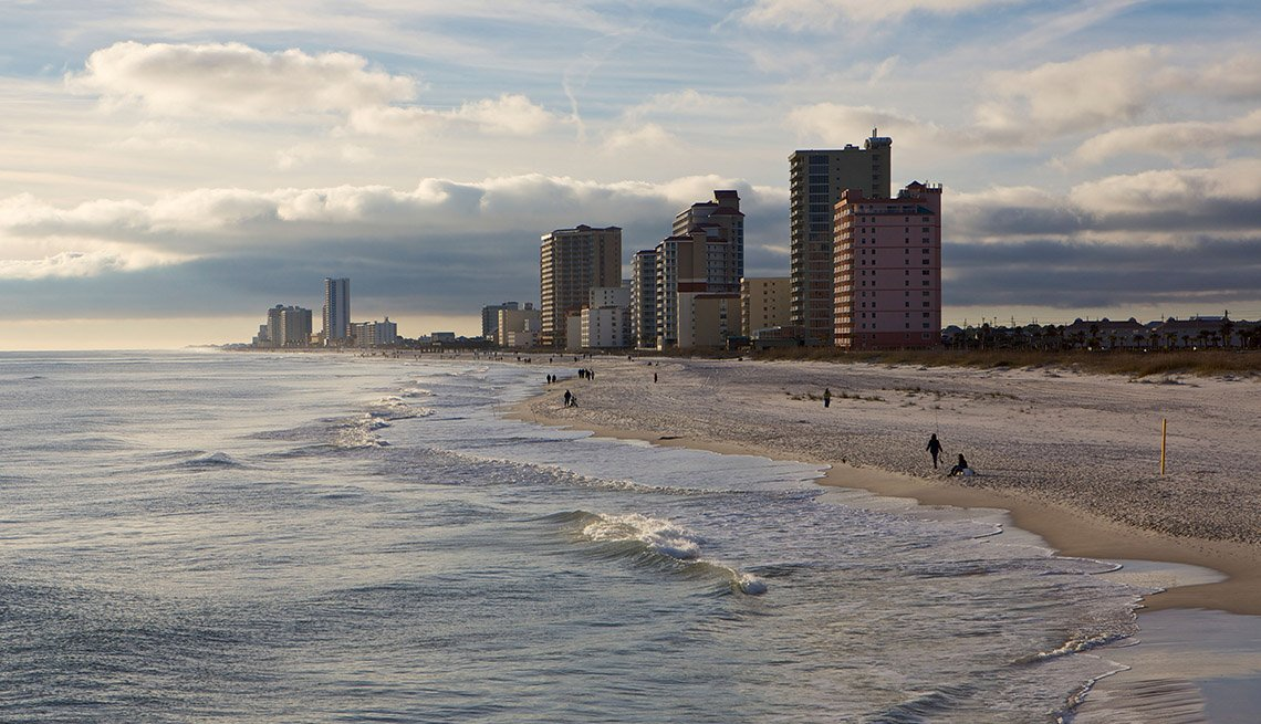 Aerial View Of High Rise Buildings By The Shoreline In Gulf Shores In Alabama, Best Beach Towns