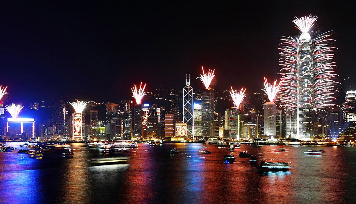 Fireworks At Night Over Downton Hong Kong And Bay, New Year's Eve Destinations