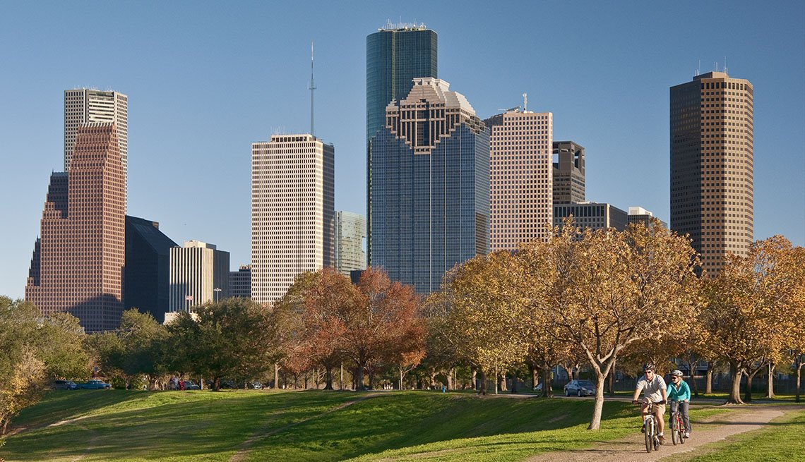 item 5 of Gallery image - Downtown Houston Texas With Bikers In Park In Foreground, Great Fall Vacations