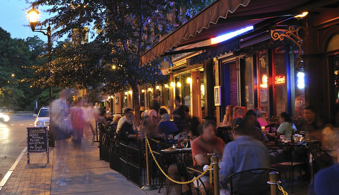 Night Time At Outdoor Restaurant In Ithaca New York, College Towns To Visit