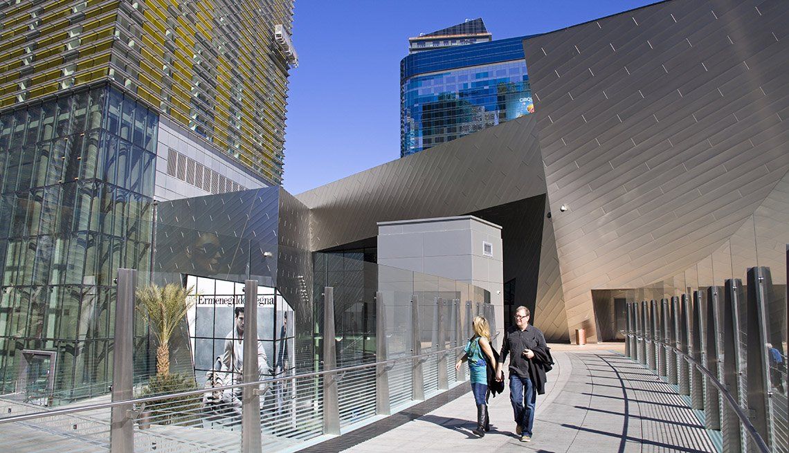 Couple Walks Along City Center In Las Vegas Nevada, Second Honeymoon Destinations
