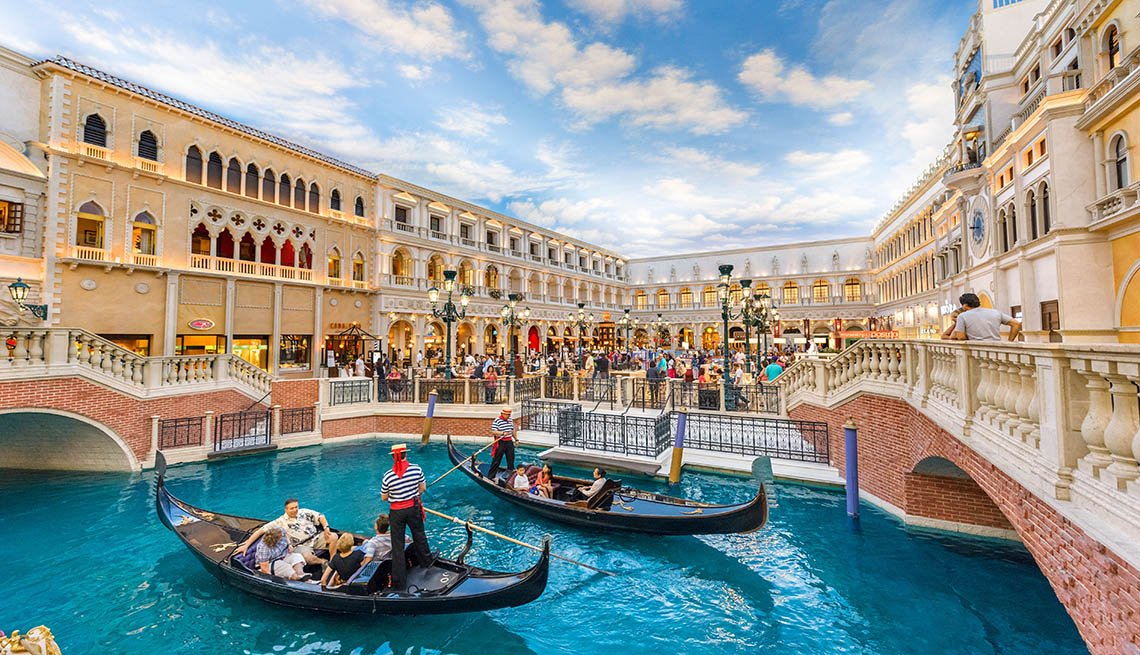 Gondolas In The Grand Canal At The Venetian Hotel In Las Vegas, Second Honeymoon Destinations
