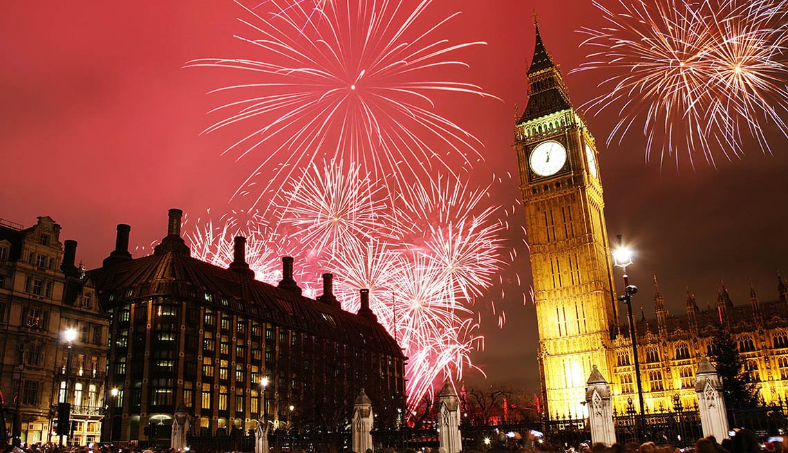 Fireworks Near Big Ben In London England, New Year's Eve Destinations