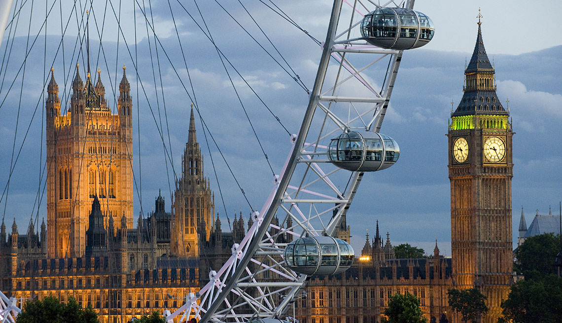 Westminster Palace And Big Ben Through The London Eye At Night, Best London Attractions