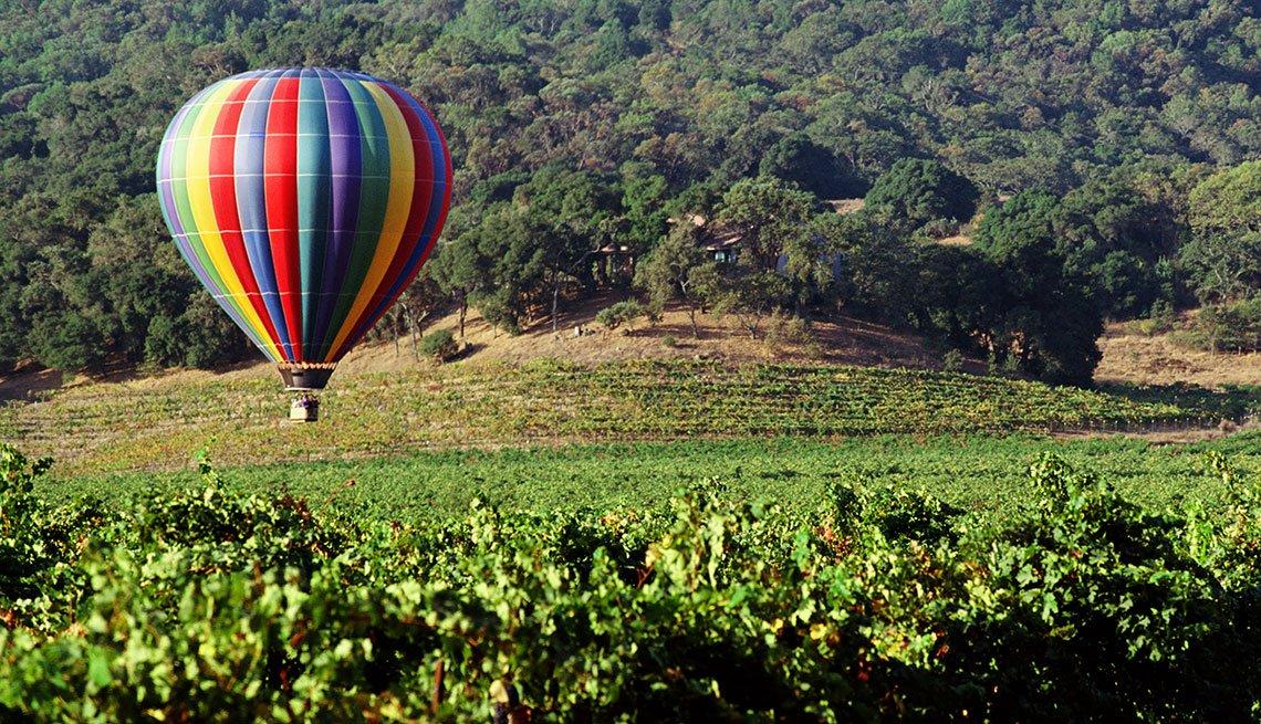 Hot-air Balloon Flying over Vineyard in Napa Valley, California, Long Weekend Getaway, Travel