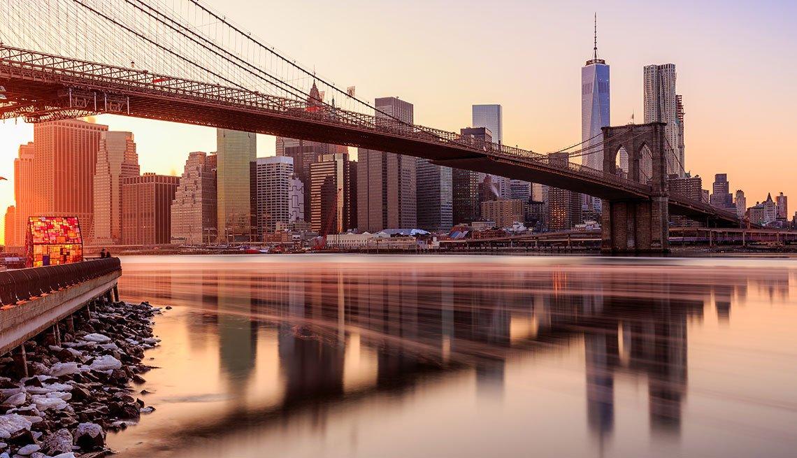 Sunset over lower Manhattan with Brooklyn Bridge, Long Weekend Getaway, Travel