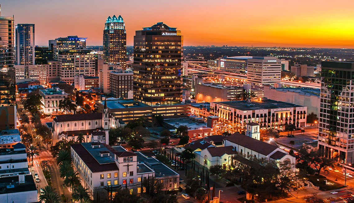 Orlando, Florida Skyline at Sunset, Long Weekend Getaway, Travel