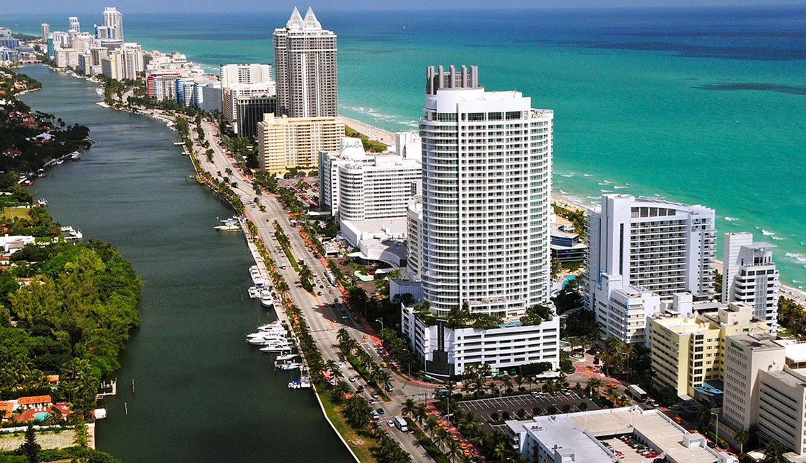 Aerial View Of The Ocean, City, Beach And Inlet In Miami Florida, New Year's Eve Destinations