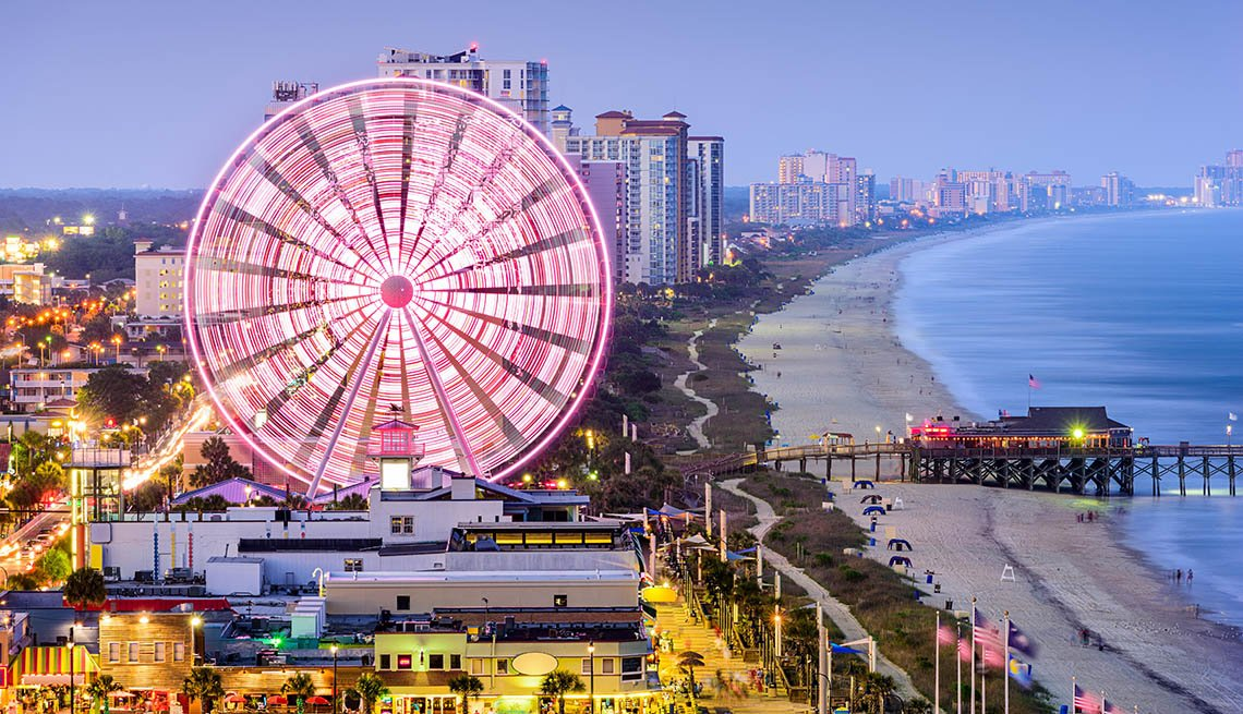 The Ferris Wheel And Boardwalk In Myrtle Beach South Carolina, Best Beach Towns