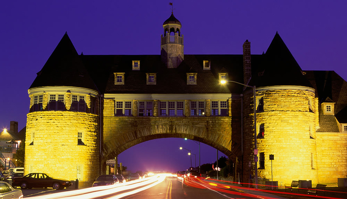 The Tower Over The Bridge In Rhode Island At Night In Bay Loop, Great Motorcycle Rides