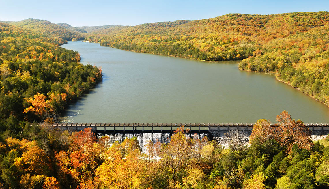 Aerial view Of Lake Leatherwood In The Ozark Mountains In Arizona, Second Honeymoon Destinations