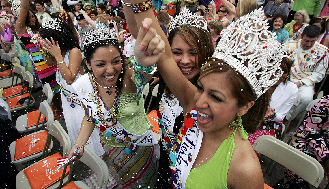 Excited Young Hispanic Women Wave To The Crowd During The Miss Fiesta San Antonio Competition, Best Latin Festivals In America