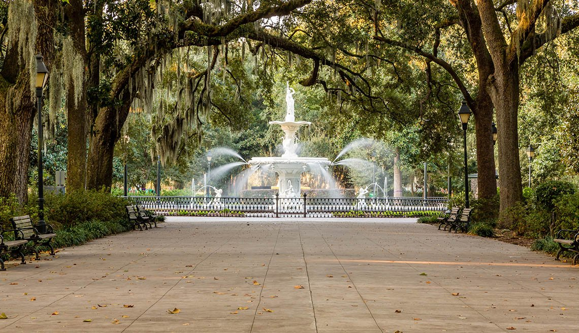 A Beautiful Park With Fountain In Savannah Georgia, Great Romantic Summer Getaways
