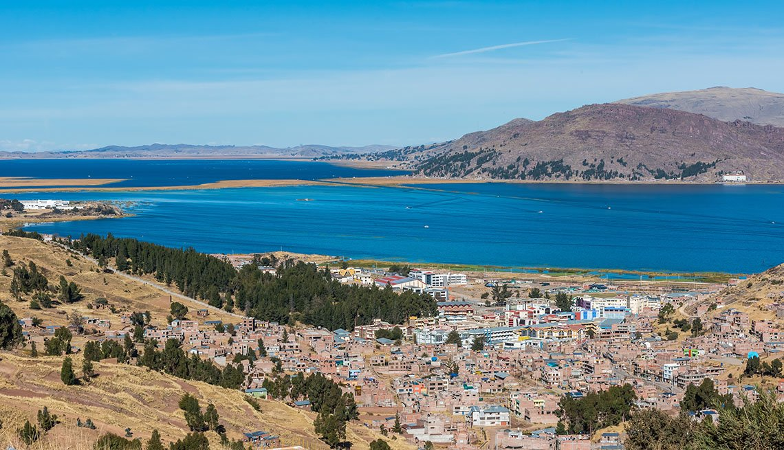 item 7 of Gallery image - Aerial View Of Titicaca Lake In Puno Peru, Fall Vacations