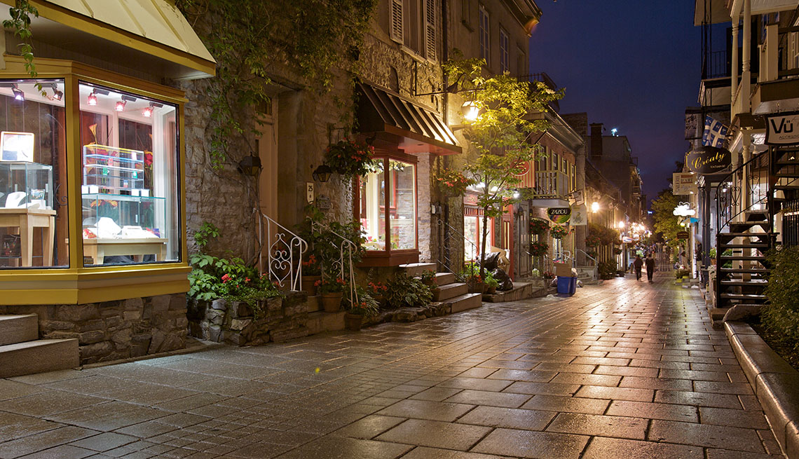 Street In Quebec City Canada Lined With Shops and Cafes, Second Honeymoon Destinations