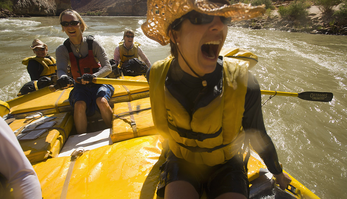 Woman Screams As She Rides Down The Colorado River, Unique Vacation Ideas