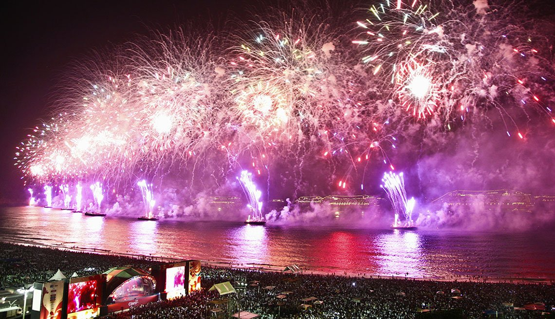 Fireworks In The Sky Above Rio De Janeiro In Brazil, New Year's Eve Destinations