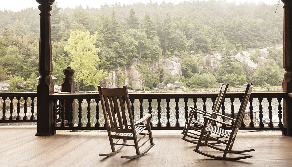 Two Rocking Chairs On A Porch In Paltz New York, Girlfriend Getaways
