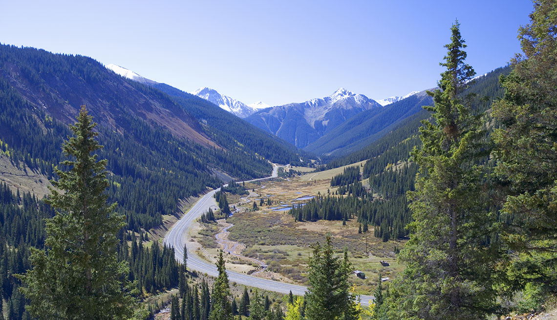 View Of The Road Cutting Through The Mountain Pass In Golden Colorado, Great Motorcycle Rides