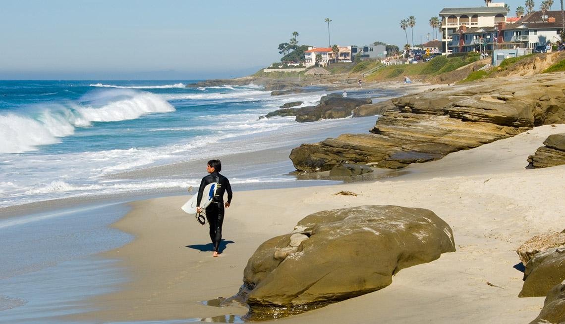 Surfer Walks The Beach In San Diego California USA, Best Beaches In The World