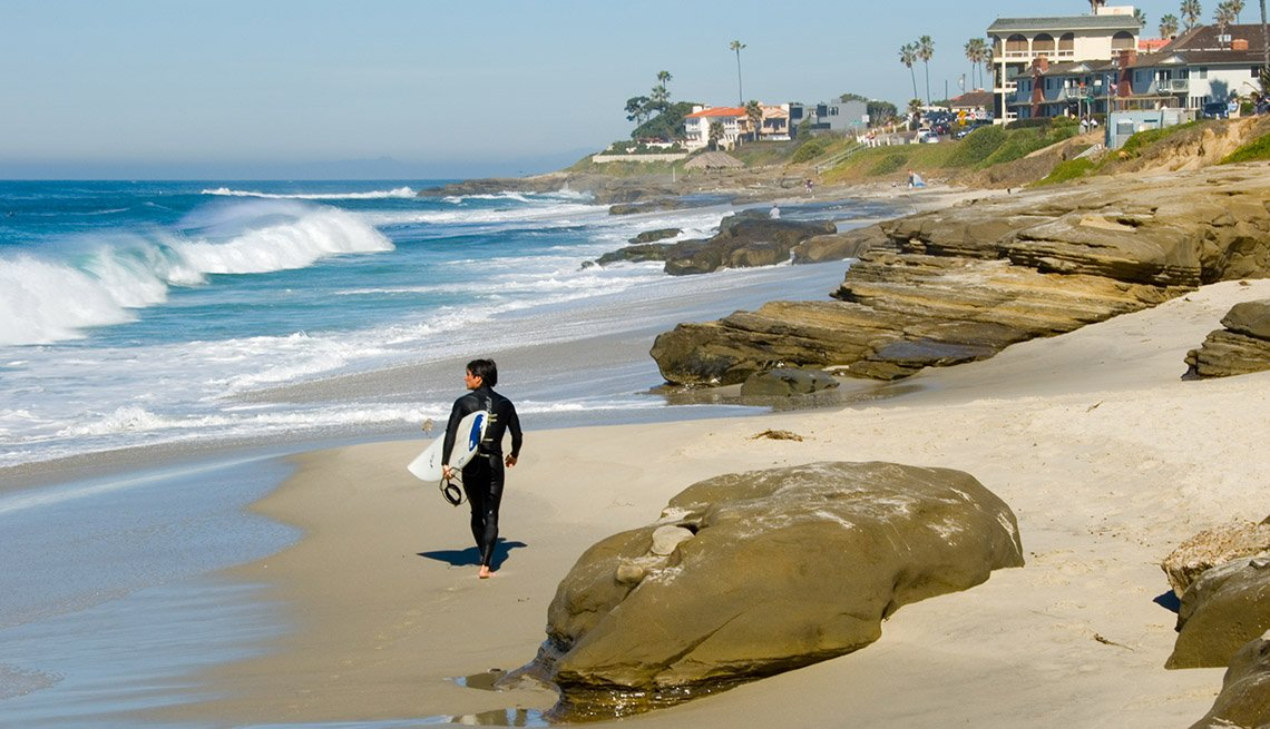 Surfer Walks The Beach In San Diego California USA, Best Beaches In The World