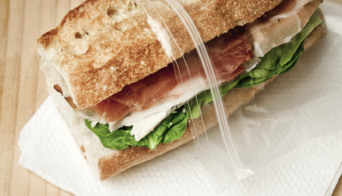 Close Up Of A Sandwich In A Sandwich Ziplock Bag, Must Have Carry On Items
