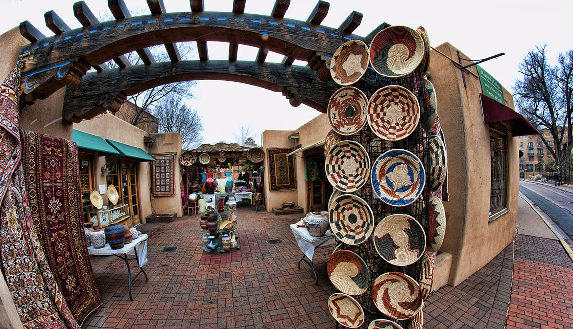 Market Selling Local Crafts By Artisans In Santa Fe New Mexico, Second Honeymoon Destinations