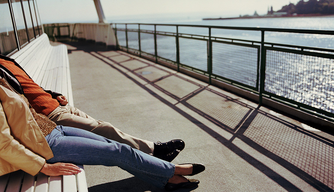 Couple Lounges On The Deck Of A Ferry Near Seattle Washington, Second Honeymoon Destiantions