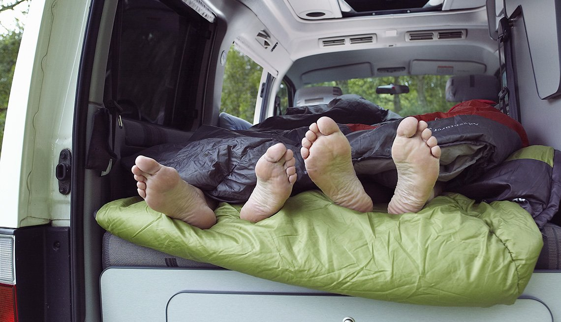Feet Under Sleeping Bag Stick Out Of Back End Of RV, Tips From Experienced RV Travelers