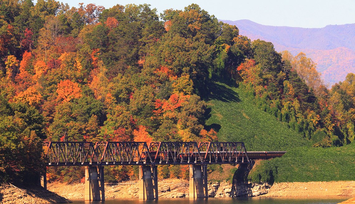 Train Tracks Over Water In The Great Smoky Mountains In North Carolina, Fall Foliage Trains