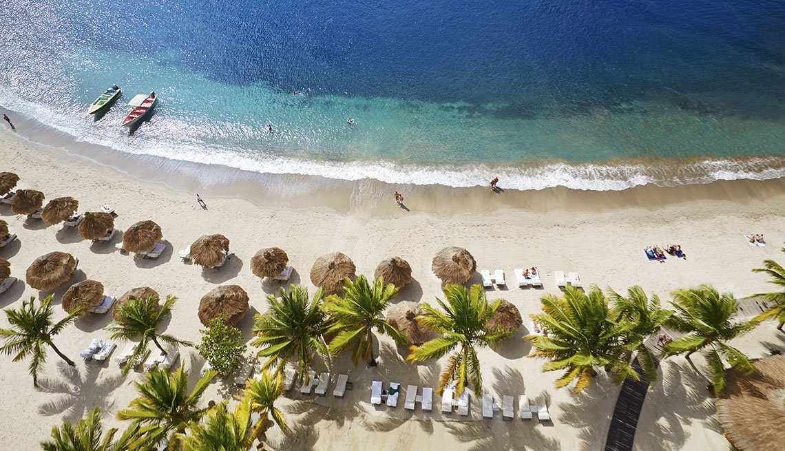 Aerial View Of Cabanas, Palm Trees And Beach At Soufriere In St. Lucia, World's Best Beaches