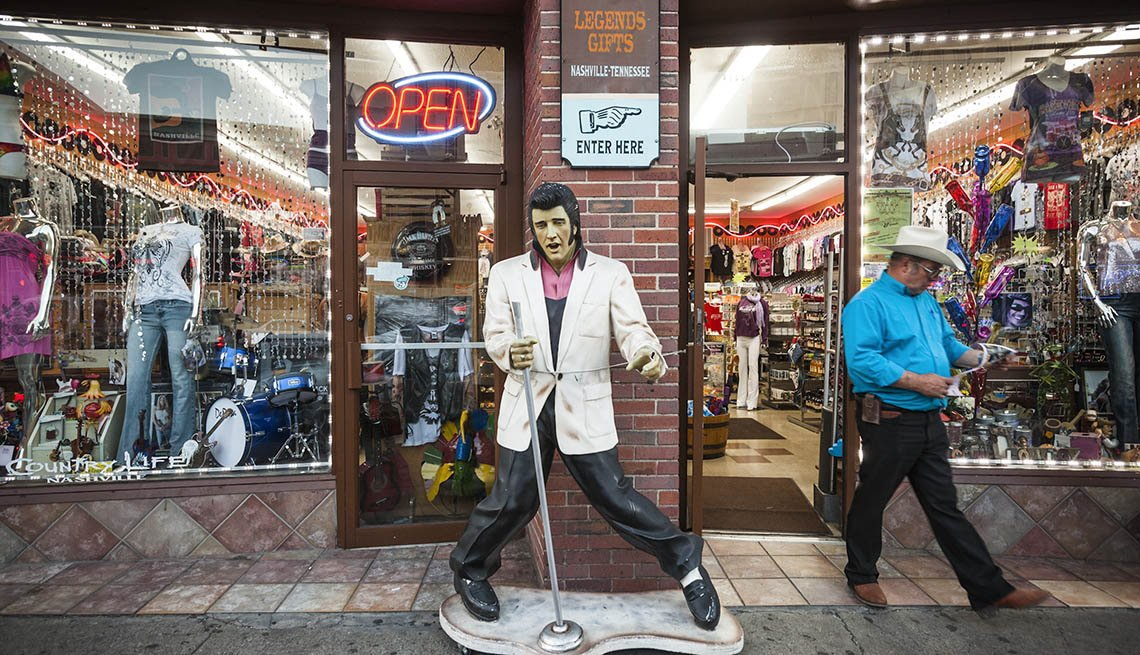 An Elvis Statue In Front Of A Souvenir Shop In Nashville Tennessee, Summer Getaways Nashville