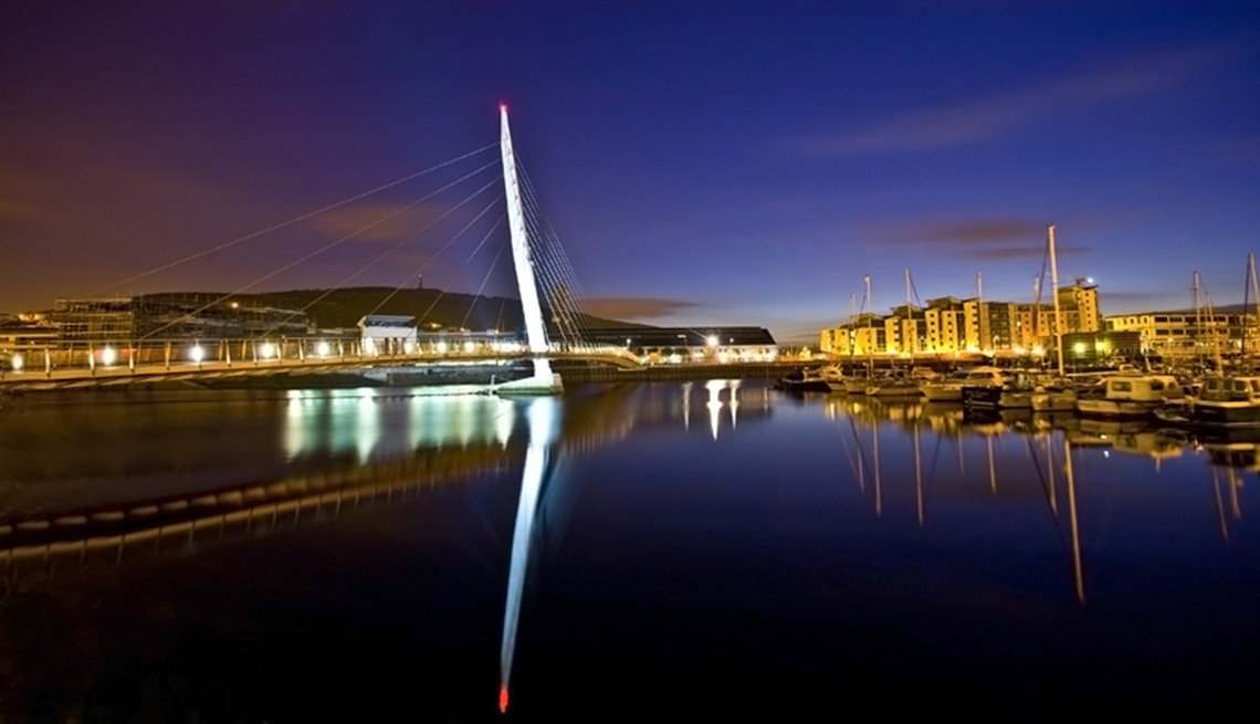 item 13 of Gallery image - The Sail Bridge At Night In Swansea Wales, United Kingdom, Fall Vacations