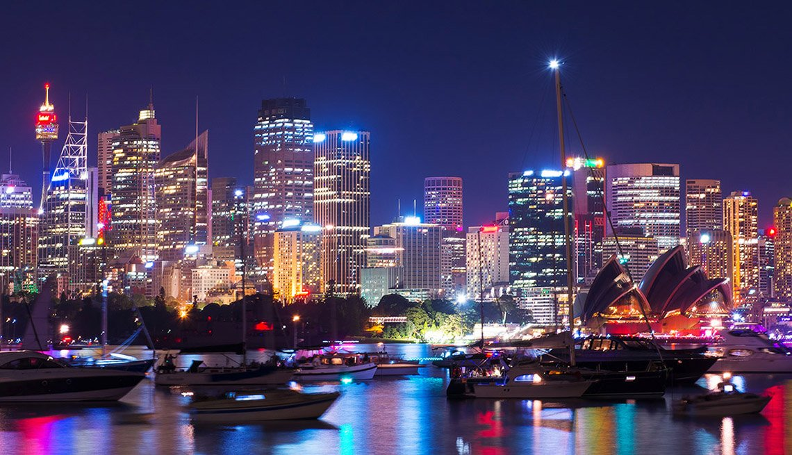 Nighttime Over The Sydney Australia Skyline, New Year's Eve Destinations