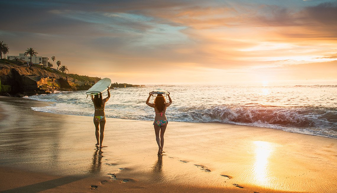 Two Surfer Girls On Beach With Their Surf Boards During Sunset, Girlfriend Getaways