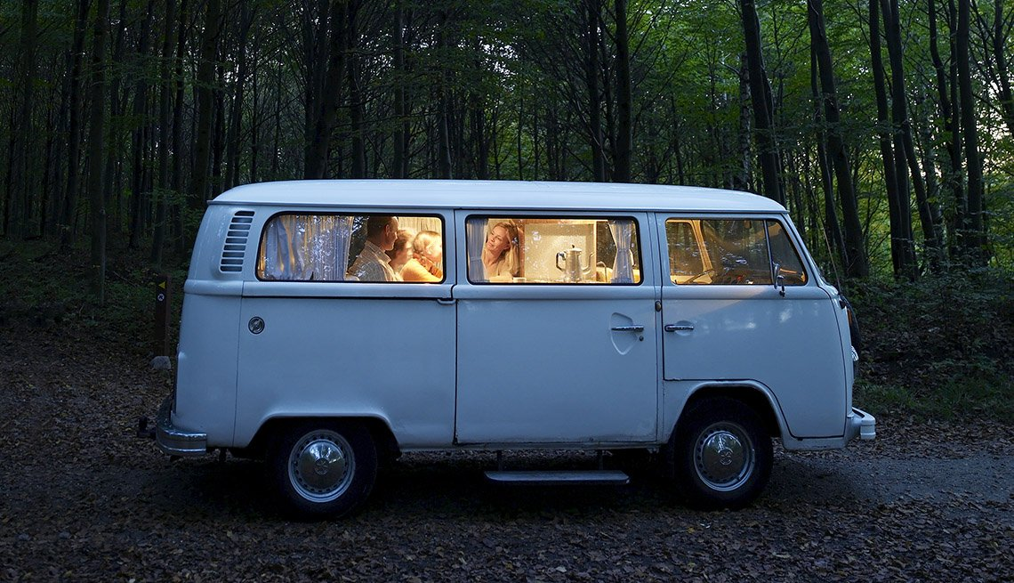 A Classic Volkswagon Van In The Forest, Tips From Experienced RV Travelers