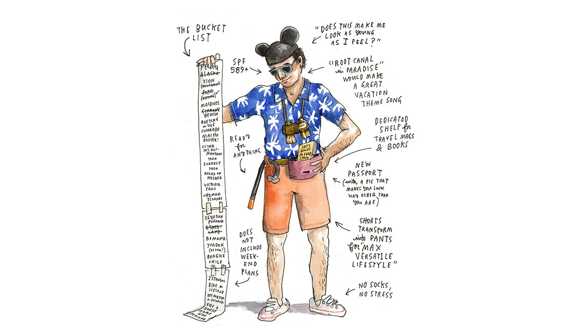 Illustration of Man with List, What to Expect, Travel Trends for Boomers