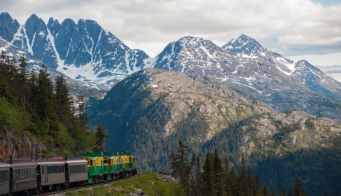 Train Cuts Through The Mountains In White Pass Yukon Route In Alaska, Fall Foliage Trains