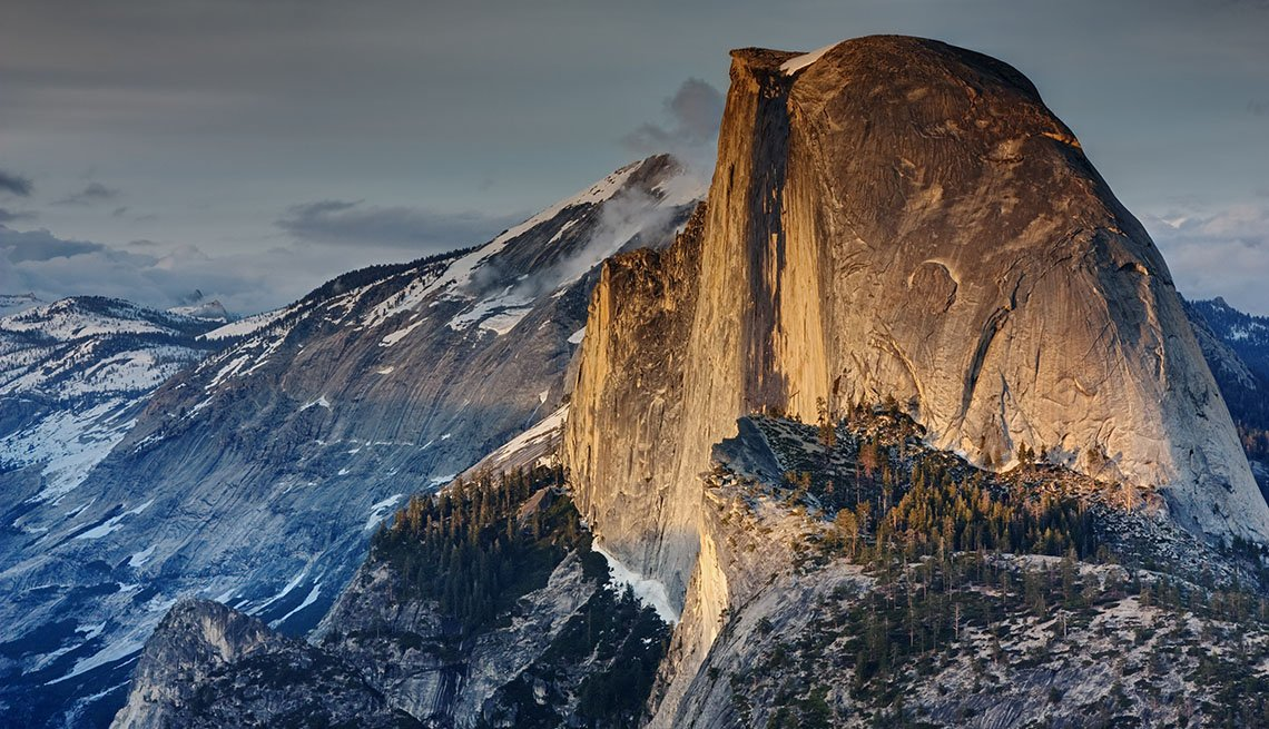 Half Dome At Sunset In Yosemite Valley In California, Best Sunsets