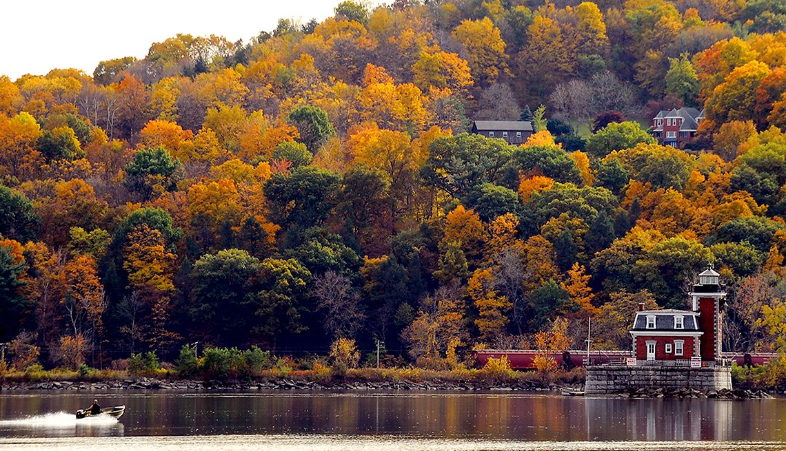 Autumn Trees By The Lake From The Ethan Allan Train, Scenic Railways
