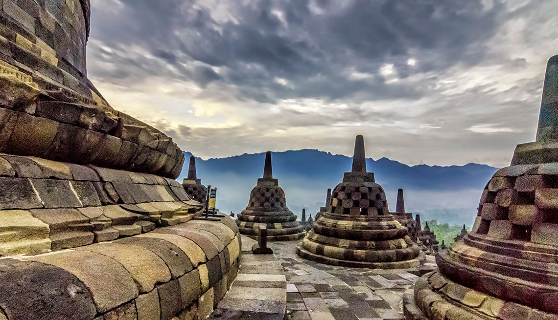 The Dramatic View And Ruins Of Borobudur In Indonesia, International Ruins