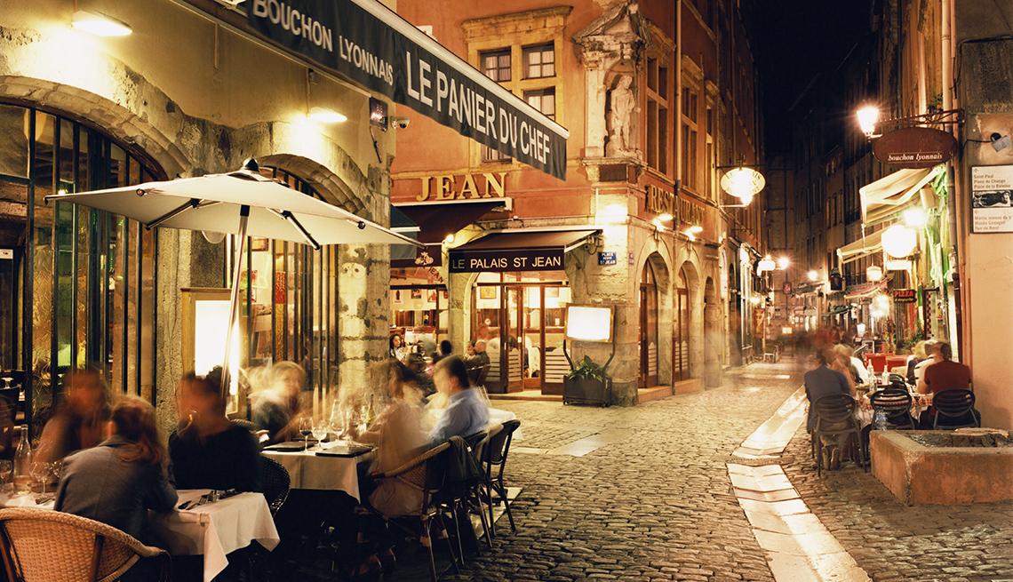 Patrons Enjoy Dinner Al Fresco At Outdoor Cafe, Theme Cruises