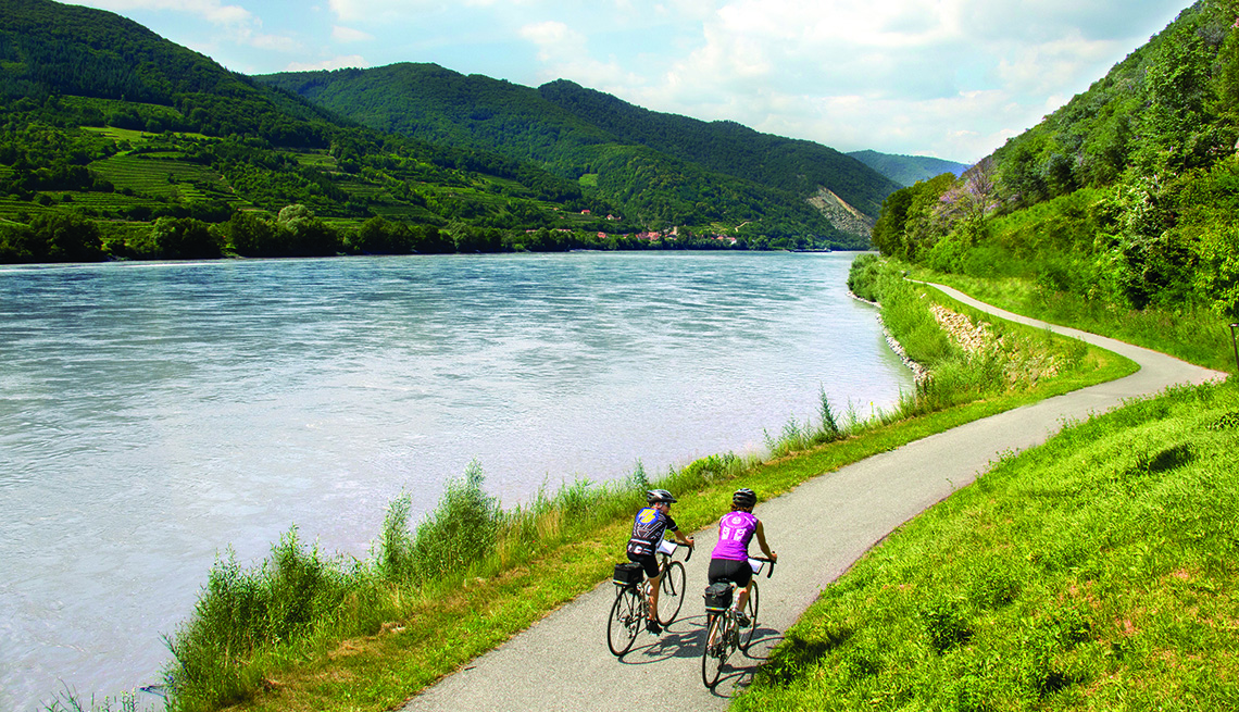 A Couple On Bikes By The Danube And The Mountains, Theme Cruises