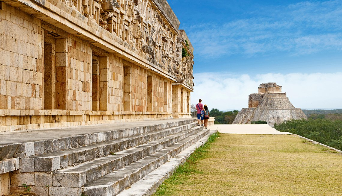 Couple Enjoy The Mayan Ruins In The Yucatan Mexico, Travel Trends