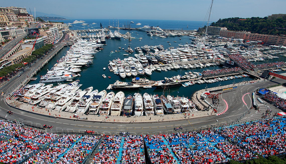 Aerial View Of The Crowds In Monaco To Watch The Grand Prix Formula One Race, Theme Cruises