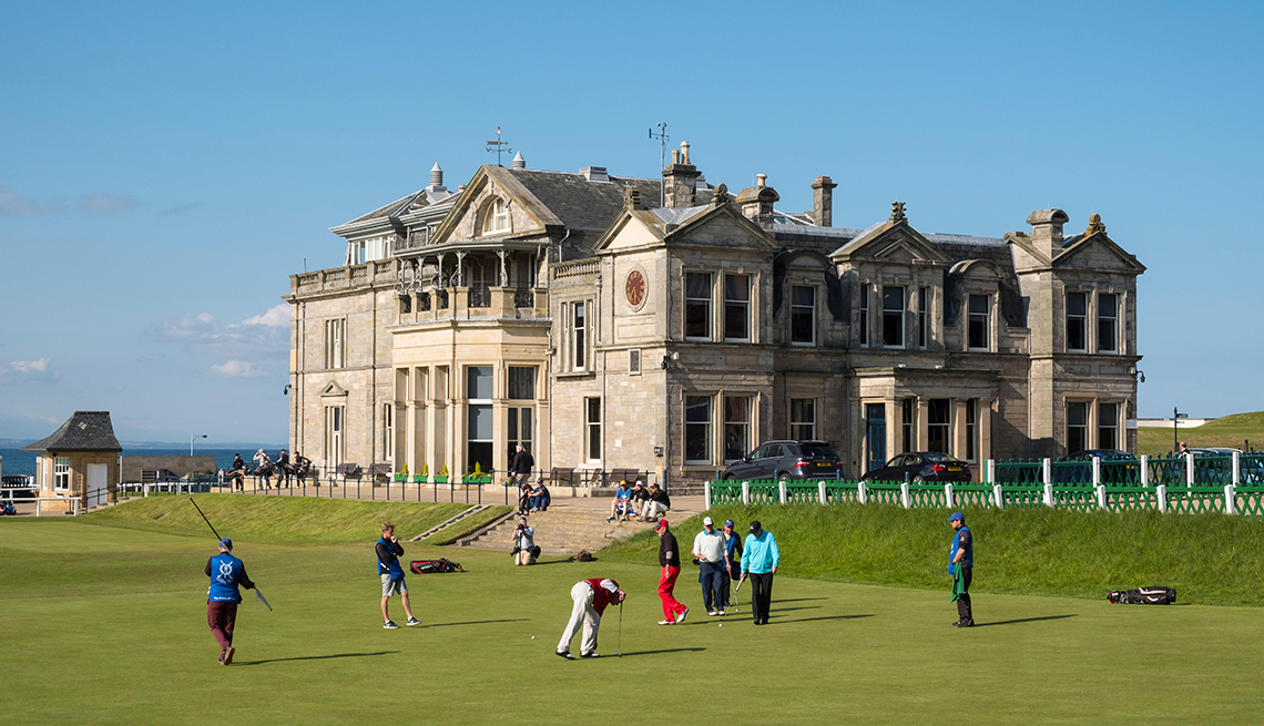 Golfers Outside The Royal And Ancient Clubhouse In Scotland United Kingdom, Theme Cruises
