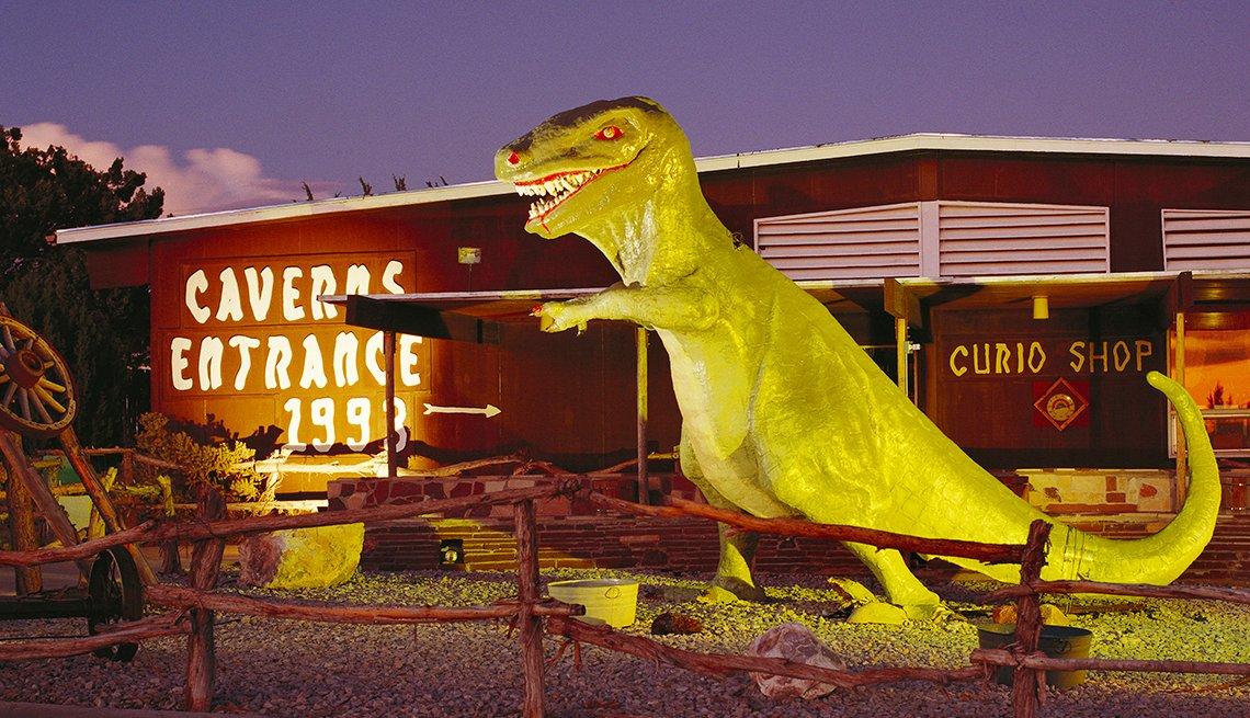 Fiberglass Dinosaur Outside Grand Canyon Caverns in Arizona, Hidden Wonders at American Attractions